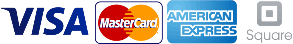 payment types Visa MasterCard AMEX - processed by Square